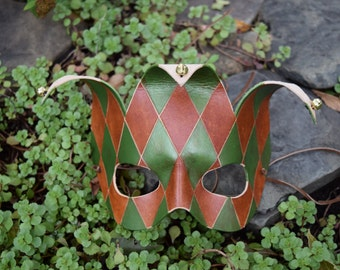 Handmade Leather Jester Mask - Brown and Green -- Ready to Ship