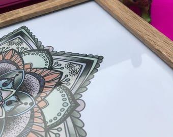 A5 Mandala Print in watercolour style