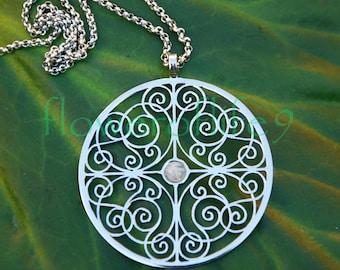 Mandala of Understanding with moonstone (1 3/4) Stainless Steel