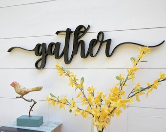 "Gather Sign up to 42"", color options, Gather word cutout, 1/2"" thick wooden letters gather sign, Gather cutout"