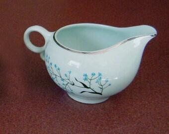 Universal Pottery Potteries sauce boat milk pitcher creamer Ballerina Mist blue aqua aquamarine 'Baby's Breath' platinum trim black stems