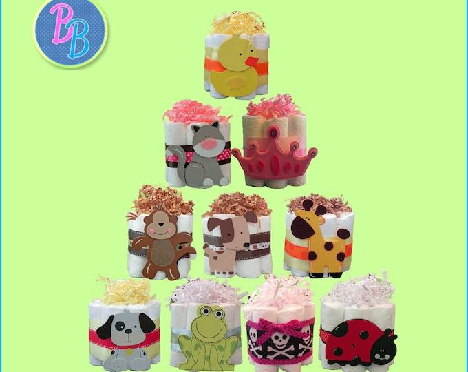 Mini Diaper Cakes - Unique Baby Shower Gift, Centerpiece, Favor
