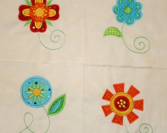 """Appliqued Minky Quilt Squares """"Fabulous and Funky Flowers"""""""