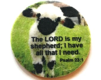 The LORD is my shepherd; I have all that I need. Psalm 23:1 - Car coasters for your cup holder - Set of two super absorbent car coasters