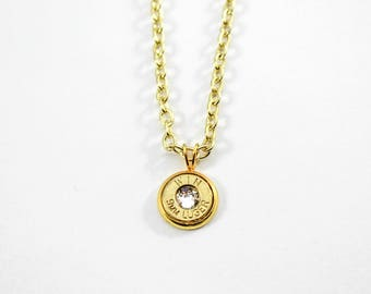 Gold & Crystal Dainty Bullet Charm Necklace
