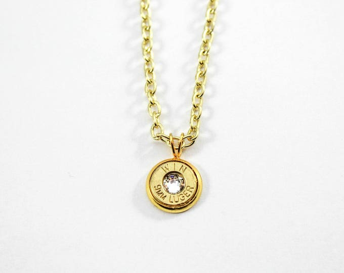 Featured listing image: Gold & Crystal Dainty Bullet Charm Necklace