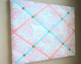 "16""x20"" French Memory Board, Bow Holder, Bow Board, Vision Board, Photography Display, Ribbon Board, Pink, Blue, Peach Paisley  Memo Board"