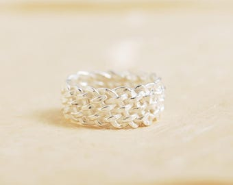 Unique Textured Ring, Basketweave Ring, Crosshatch Ring, Interwoven Ring, Unusual Silver Ring, Puffy Silver Ring, Artistic Jewelry