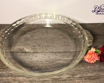 Vintage Pyrex Pie Dish, Pyrex 229 B-U Scalloped Edge Deep Dish Pie Plate, Pyrex Pie Plate with Handles