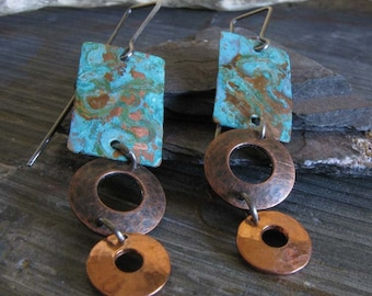 Dangle patina earrings. Copper verdigris with sterling silver. Geometric rectangles and circles. Mixed metal jewelry for women. Rustic Charm