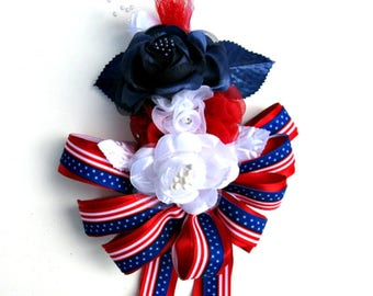 Women's Corsage, Patriotic floral corsage, Holiday corsage, Red white & blue rose corsage, Wrist corsage, Wearable corsage, 4th of July
