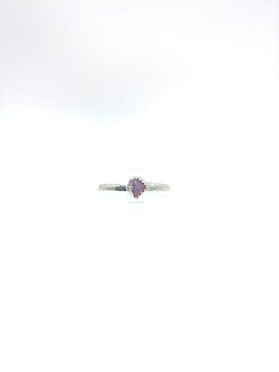 Purple Sapphire Stacking Ring   Sterling Silver Ring Sz 9.75   Raw Sapphire Ring   September Birthstone Ring   Raw Sapphire Stacker Ring