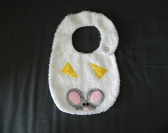 White Terry cloth bib, applied little mouse