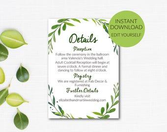 Details Card Editable Template, DIY Details Card, Botanical Wedding, Greenery Wedding, Details Card, Green Wedding, Instant Download