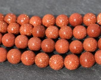8mm Goldstone Beads, Round - Full Strand or Half Strand, Terra Cotta, Orange, Sparkly, Gemstone, 8 mm, Round