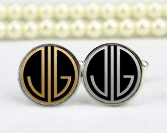 monogram cufflinks, 1920s film style, 2 letters, custom initial, personalized cufflinks, custom wedding cufflinks, groom, groomsmen gifts