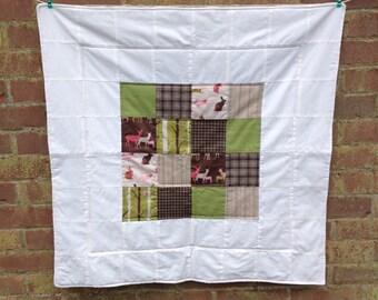 "Patchwork Baby quilt / baby blanket / lap blanket / knee blanket. Woodland theme. 34"" x 34"""