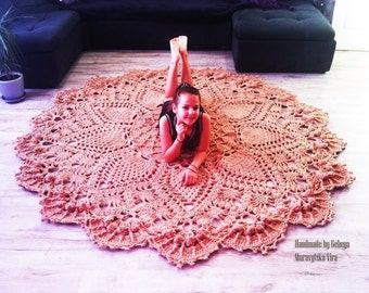 Extra Large round Crochet giant rug  carpet - living room doily rug floor mat carpet. French country decor