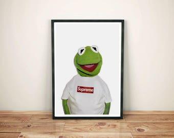 Kermit Supreme Poster Print- Kermit the frog poster X Supreme Print- Gift