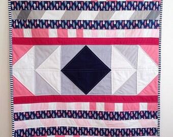 Modern baby quilt handmade - Handmade modern quilt