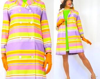 Vintage 60s 70s Pastel Rainbow Striped Trench Coat