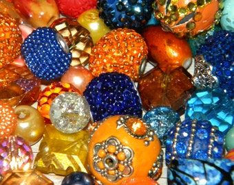 NEW 20pc Orange/Blue  Mixed Jesse James beads  Loose Assorted Random Mix Bag of different sizes & shapes