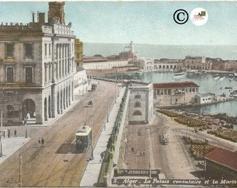 Algiers the Consular Palace and the Navy Alger Street Scene Vintage Postcard Old Trolley Car Port