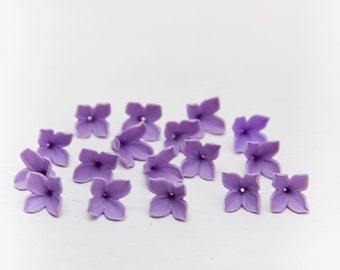 15  Lilac beads, lilac flowers polymer clay beads jewelry, lilac flowers 9-10mm