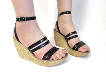 Vintage VAGABOND 90's Platform Shoes Chunky Black Faux Leather Strappy Sandals Size EUR 38