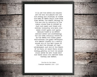 Theodore Roosevelt Inspirational Words 'The Man in the Arena' Instant Download Printable Quote Motivational Print Graduation Gift Office Art