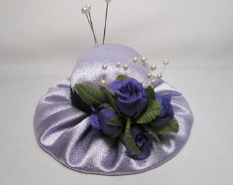 Hat Pin Cushion in Lavender Sateen and Purple OOAK REDUCED 50%