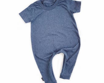 MiBaby Basics • Baby / Toddler T-shirt Romper • BLUE
