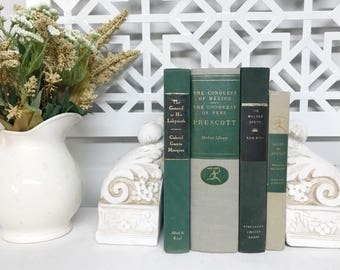 Green Vintage Book Set