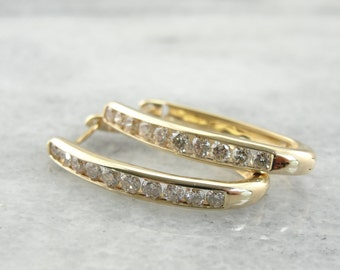 Vintage Diamond Hoop Earrings, Bridal Earrings with Diamonds and Yellow Gold ZKH74H-N