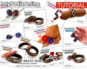 Polymer Clay Tutorial, Fold Pattern, Origami Jewelry, Origami Earrings, Necklace Pattern, Bracelet Tutorial, Video Tutorial, DIY, Fimo Craft