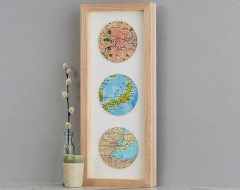 Three custom Map Location circles Print - wedding gift - anniversary gift for husband - personalized map gift - world map - gift for him