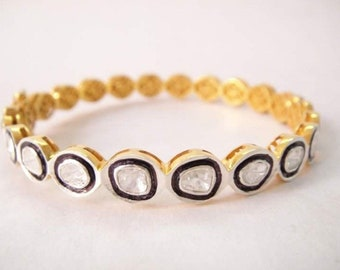 The Diva diamond slice statement bangle Gold over Sterling silver rustic diamind bracelet custom made