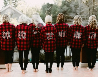 Bridal Party RED Flannel Shirt - Bride/Wedding/Bridal party