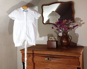 Outfit with stand collar & bow of linen for Christening or Wedding