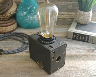 ON SALE, Antique Camera Lamp, photography, vintage, antique, repurposed, recycled, upcycled, wedding gift, steampunk, Harry Potter
