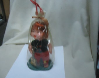 Vintage  Japan Red Head Doll With Freckles In Plastic Package, collectable