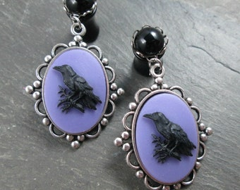 Dangle Plugs - 10g - 8g - 6g - 4g - 2g - 0g - Wedding Plugs - Gothic Wedding - Plug Earrings - Wedding Gauges - Raven Plugs