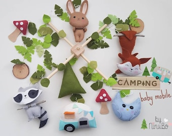 Camping Baby Mobile - Woodland Mobile - Forest Mobile - Cot Mobile - Crib Mobile