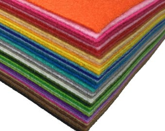 Bargain 40pcs pack Assorted Colors 12x12 inches 1mm thick Stiff Felt Non-Woven Sheets DIY Craft