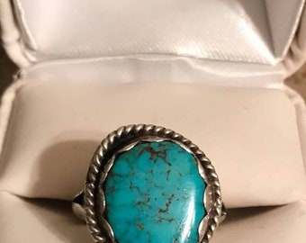Vintage Sterling Silver Native American Turquoise Ring Size 7