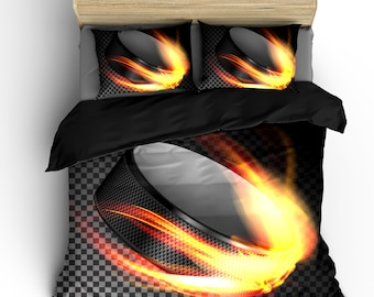 Flaming Hockey Puck and Checkered Theme Bedding - Toddler, Twin, F-Queen or King Size