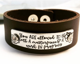 Wide Hand Stamped Leather Bracelet ~ Personalized Affirmation Cuff ~ Mantra ~ Custom Quote ~ Empowerment Jewelry Inspirational ~ Motivation