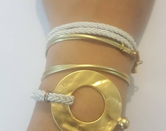 Gold Circle and White Wrap Bracelet for women