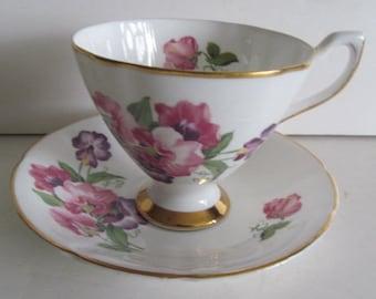 Sweet Pea Purple and Pink Tea Cups Crownford Fine Bone China Tea Cups English Tea Cup Saucer Set England Tea Cups English