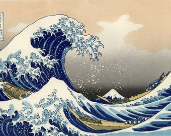 The great wave of Kanagawa fully lined